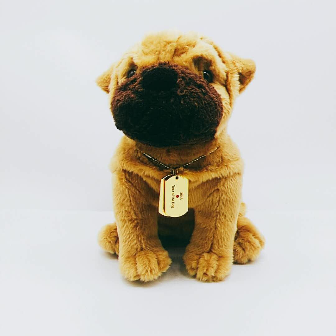 Custom company mascot shar-pei plush toy