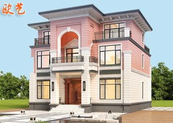 现代风格农村三层自建房施工图洋房效果图简约小别墅设计图纸